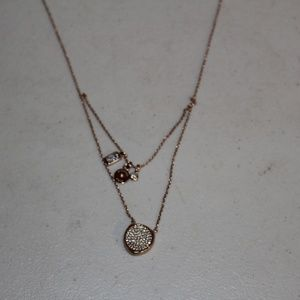 Michael Kors Jewelry - MICHAEL KORS ROSE GOLD TONE PAVE LAYER NECKLACE